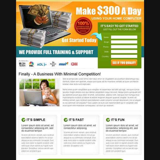 work from home lead capture effective landing page Work from Home example