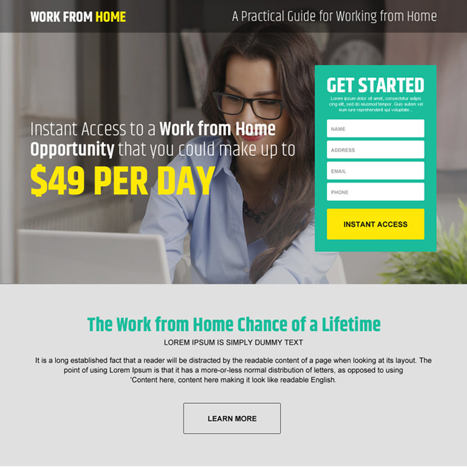 work from home opportunity modern responsive landing page design template Work from Home example