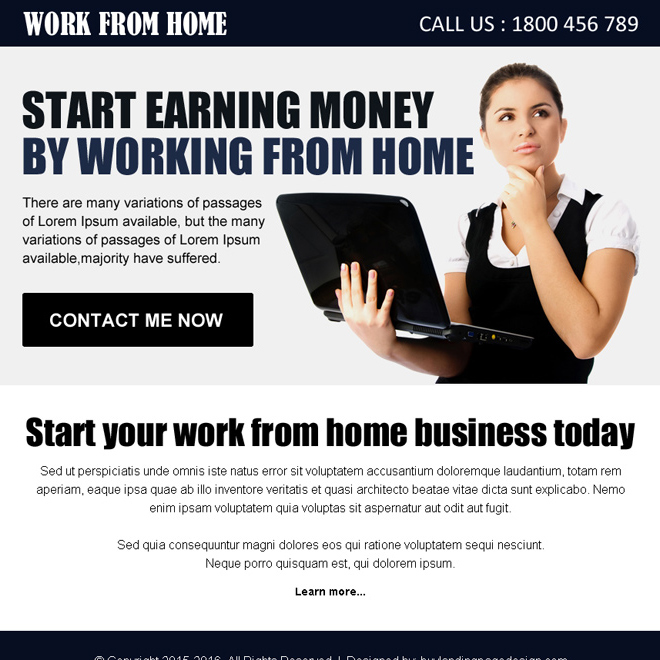 work from home opportunity ppv landing page design template Work from Home example