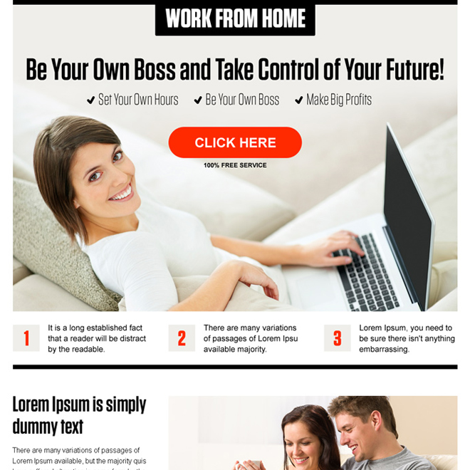 work from home pay per click landing page design template Work from Home example