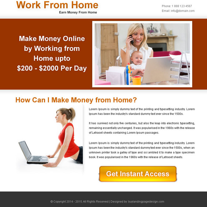 work from home instant access call to action ppv landing page design PPV Landing Page example