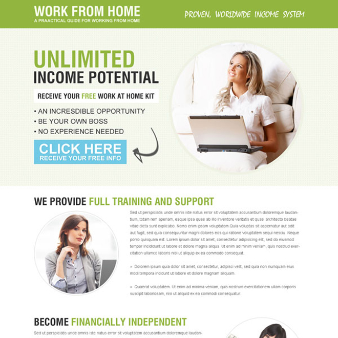 minimal work from home responsive landing page design Work from Home example