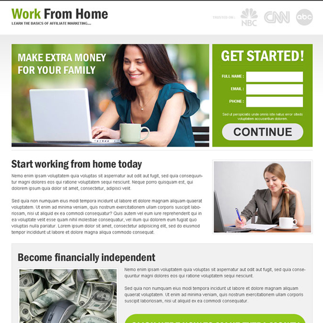 work from home to earn extra money lead capture responsive and converting landing page design template Work from Home example
