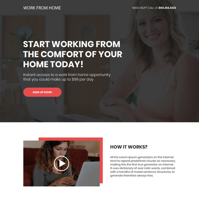 work from home opportunity sign up capturing bootstrap landing page Work from Home example