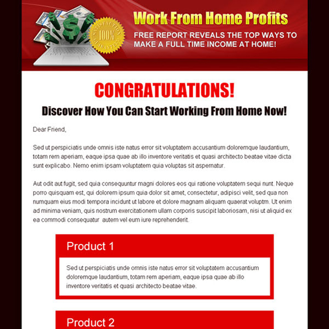 work from home profits add to cart sales page design Sales Page example