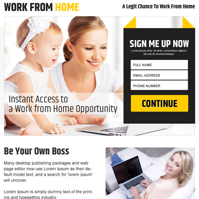 work from home sign up capturing ppv landing page design Work from Home example