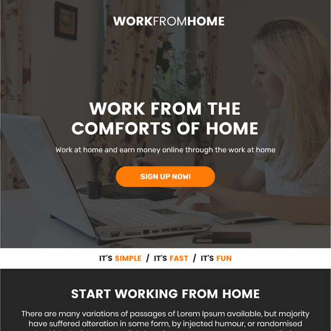 work from home sign up capturing ppv landing page Work from Home example