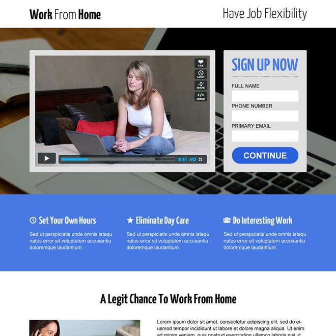 work from home opportunity lead capture video landing page design template Work from Home example