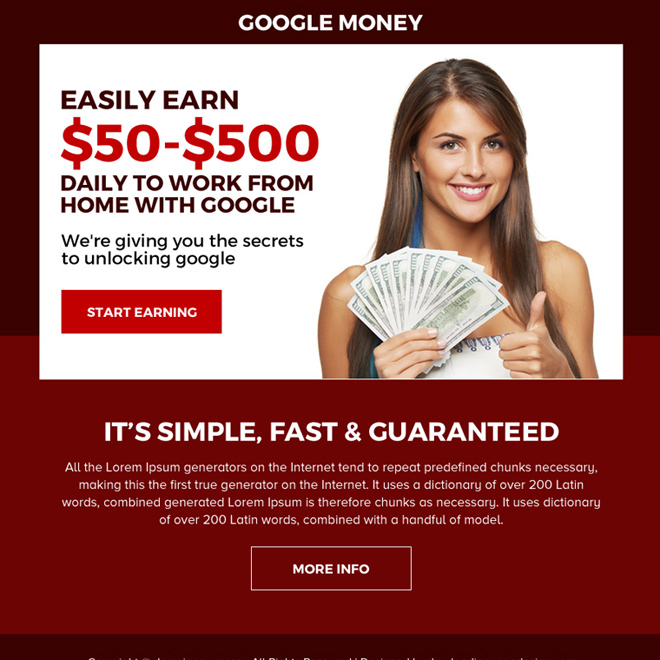 work from home with google ppv landing page design Google Money example