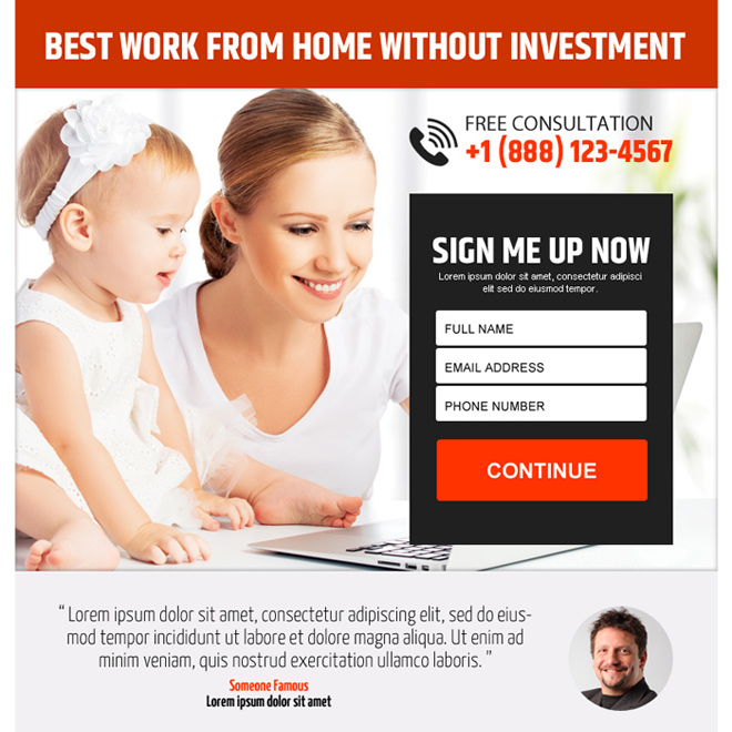 work from home without investment ppv landing page design Work from Home example