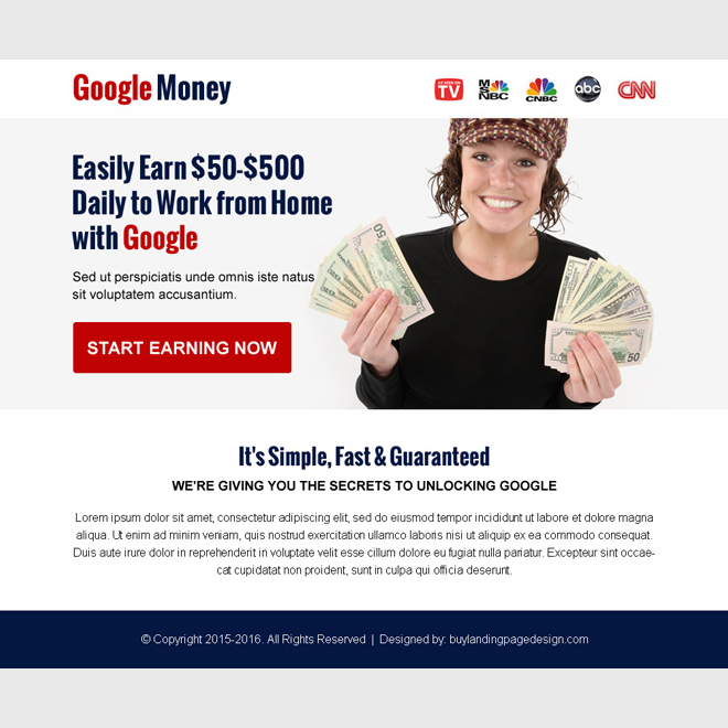 work with google money online ppv landing page Google Money example