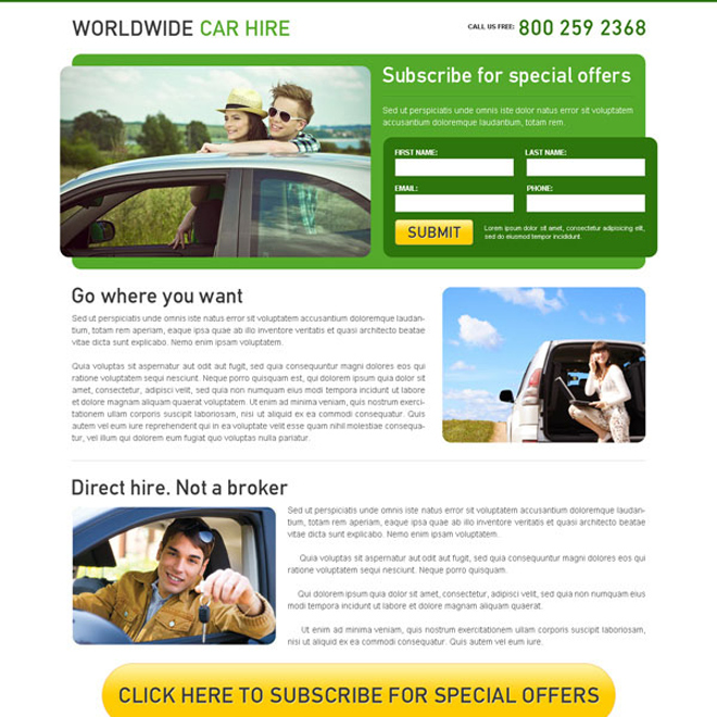 worldwide car hire clean and effective lead capture squeeze page design Car Hire and Car Rental example