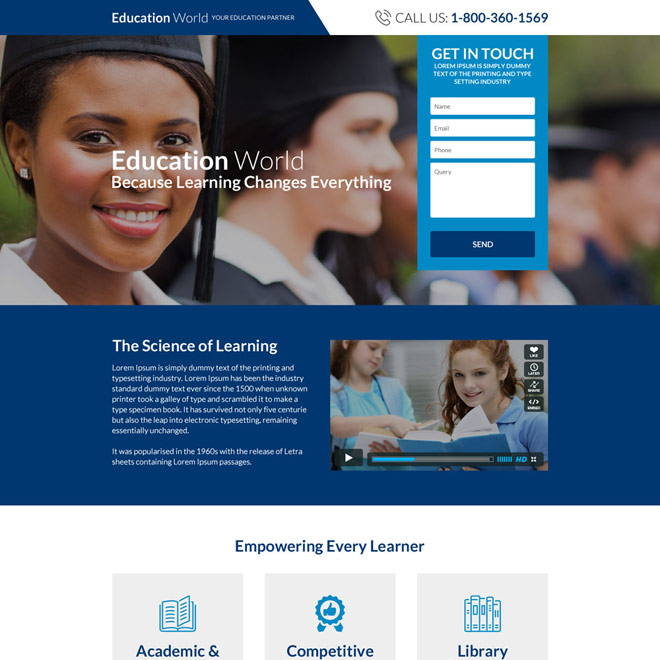 worldwide education consultants landing page design Education example
