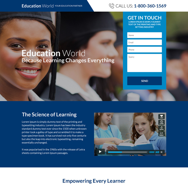 professional and responsive education consultants landing page design Education example