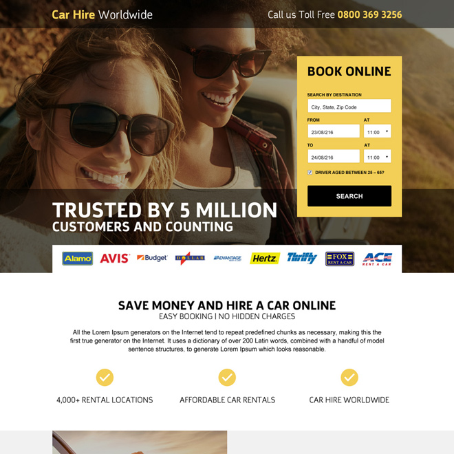 affordable car rentals worldwide mini landing page design Car Hire and Car Rental example