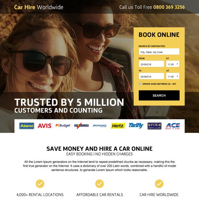 car hire searching responsive landing page design Car Hire and Car Rental example