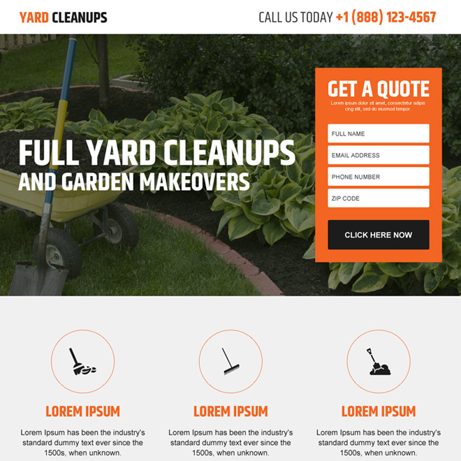 yard cleaning lead generating responsive landing page design Cleaning Services example