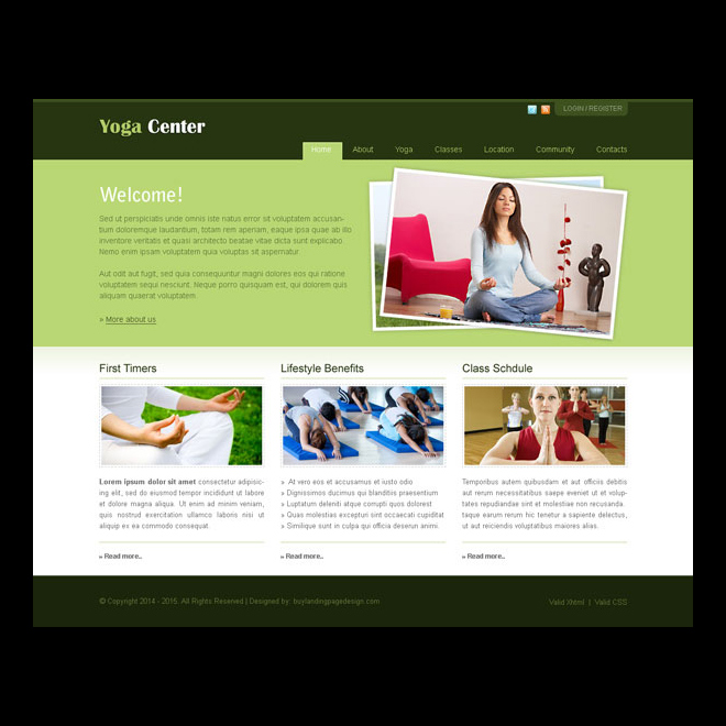 informative and minimalist yoga center website template design psd Website Template PSD example