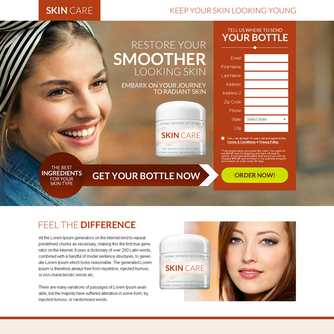 skin care product selling best bank page design Skin Care example