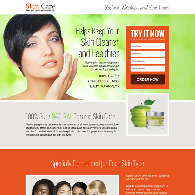 youthful glowing skin care lead capture landing page design Skin Care example