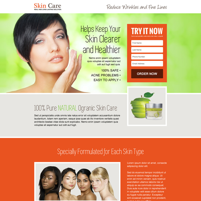 responsive youthful glowing skin care landing page design Skin Care example