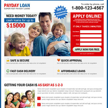 high converting payday loan landing page design