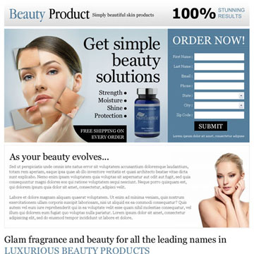 beauty product landing page design to sell you beauty product online
