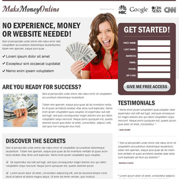 make money online landing page design