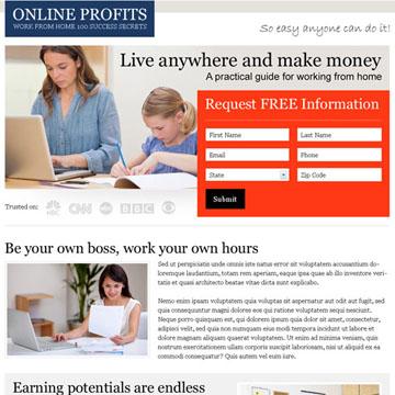 online profits landing page design