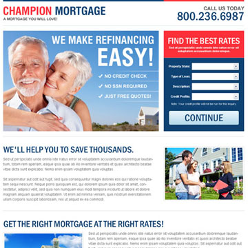 mortgage champion landing page design