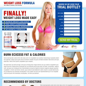 weight loss landing page design that converts traffic into sales