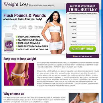 Fresh weight loss landing page design