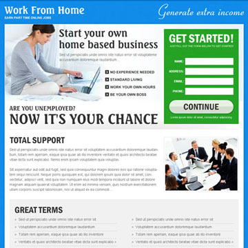 work from home landing page design