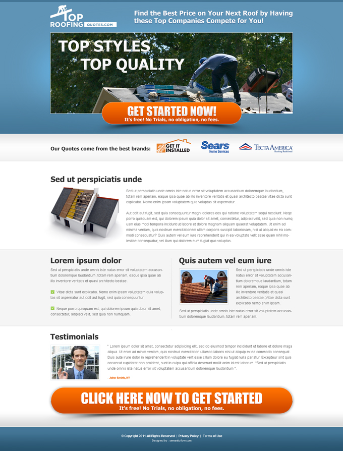top roofing company free quote