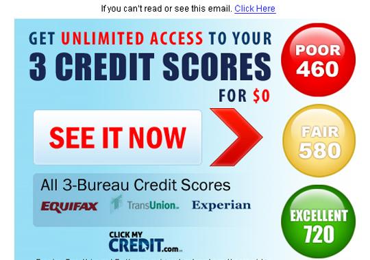 3 bureau credit scores  example