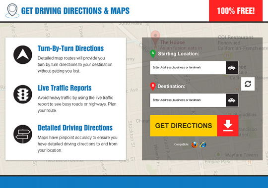 get driving directions and map  example