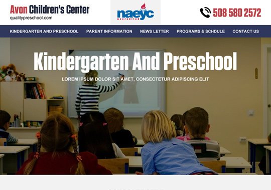 kindergarten website  example