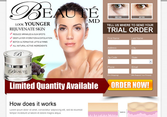 skin care product trial offer  example