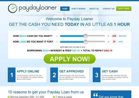 payday cash loan  example
