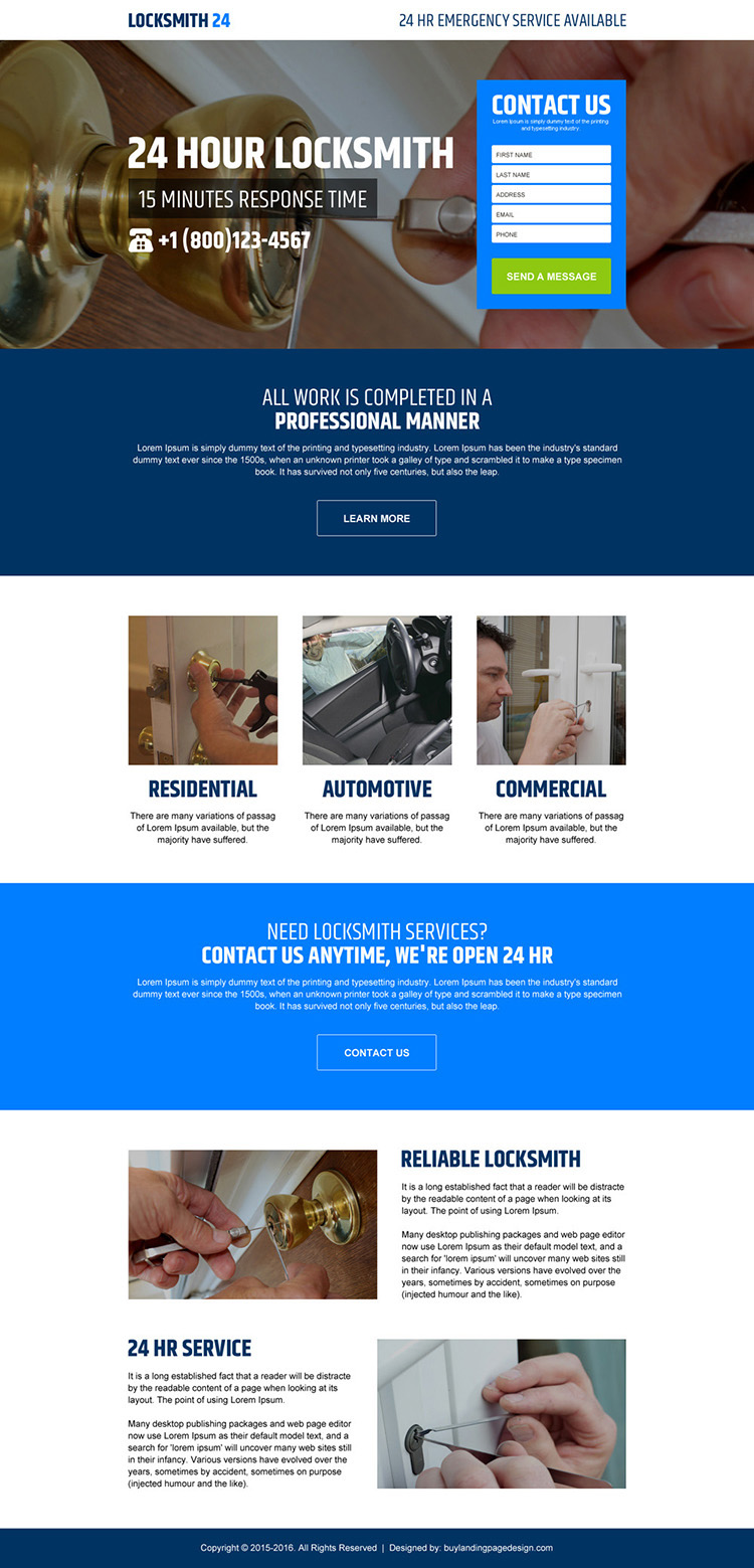 24 hours locksmith service converting responsive landing page design