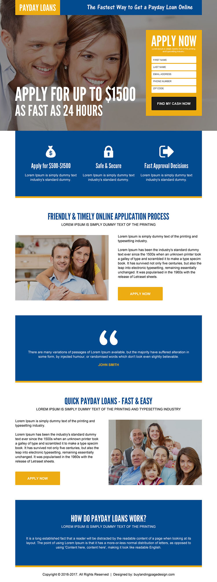 24 hours payday cash loan lead funnel mobile friendly landing page