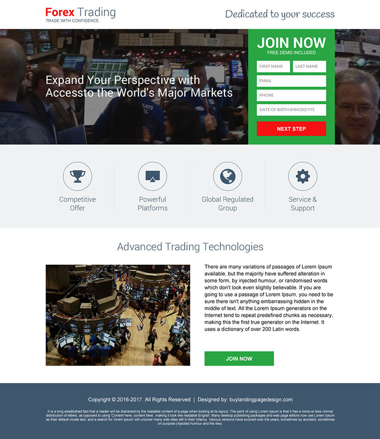 responsive forex trading brokers mini landing page design