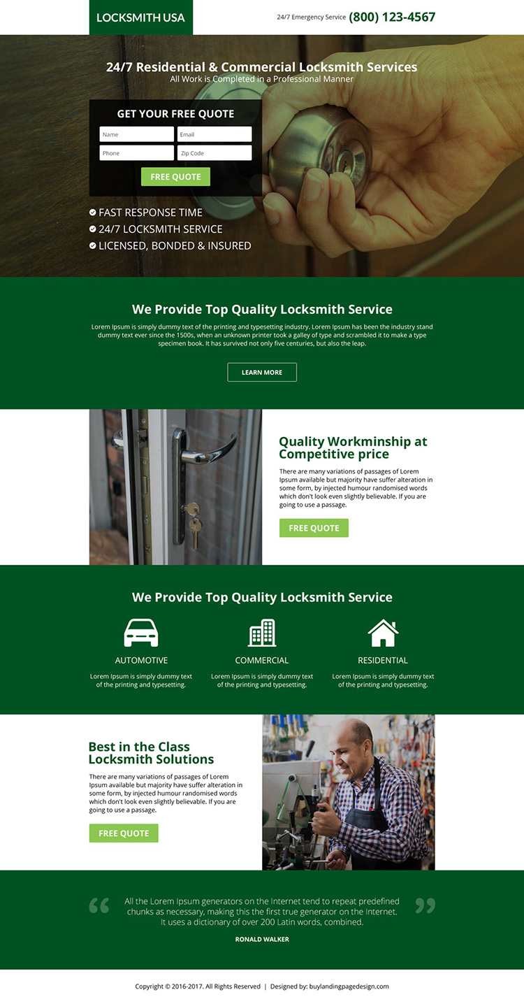 USA locksmith service lead capturing landing page design