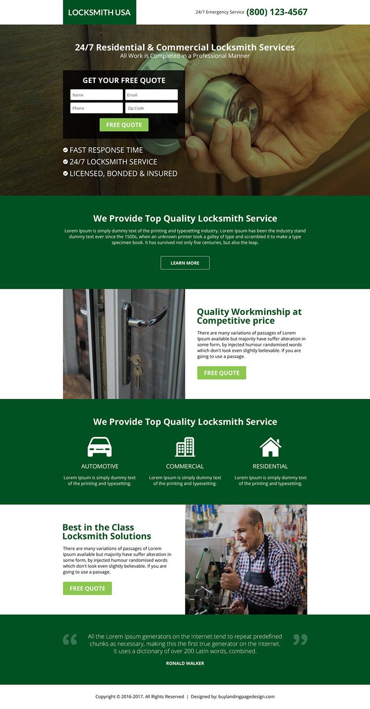 USA locksmith service lead capturing landing page design