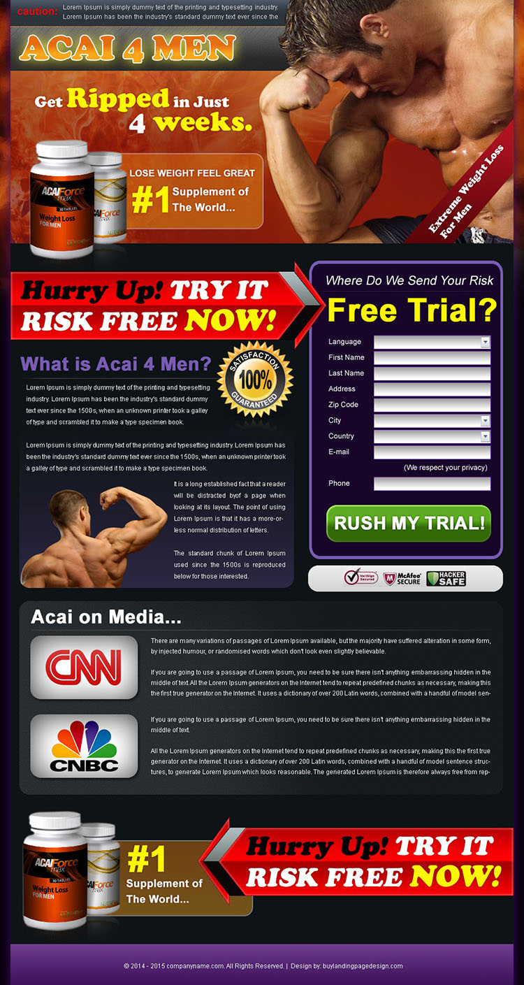acai berry bodybuilding for man landing page design