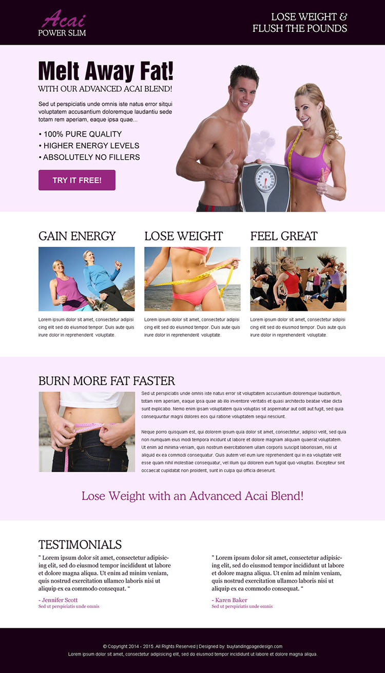 acai power slim clean responsive weight loss squeeze page design