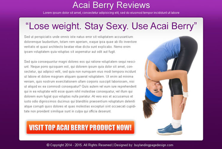 acai berry weight loss product review effective and converting ppv landing page design