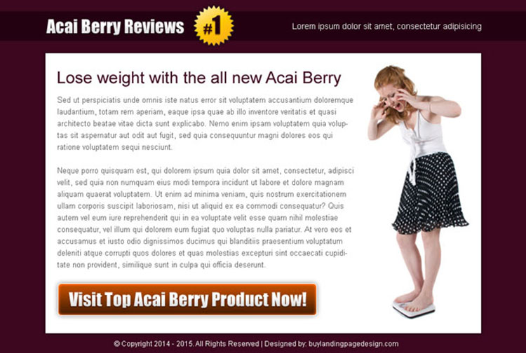 acai berry product review high converting ppv landing page design template