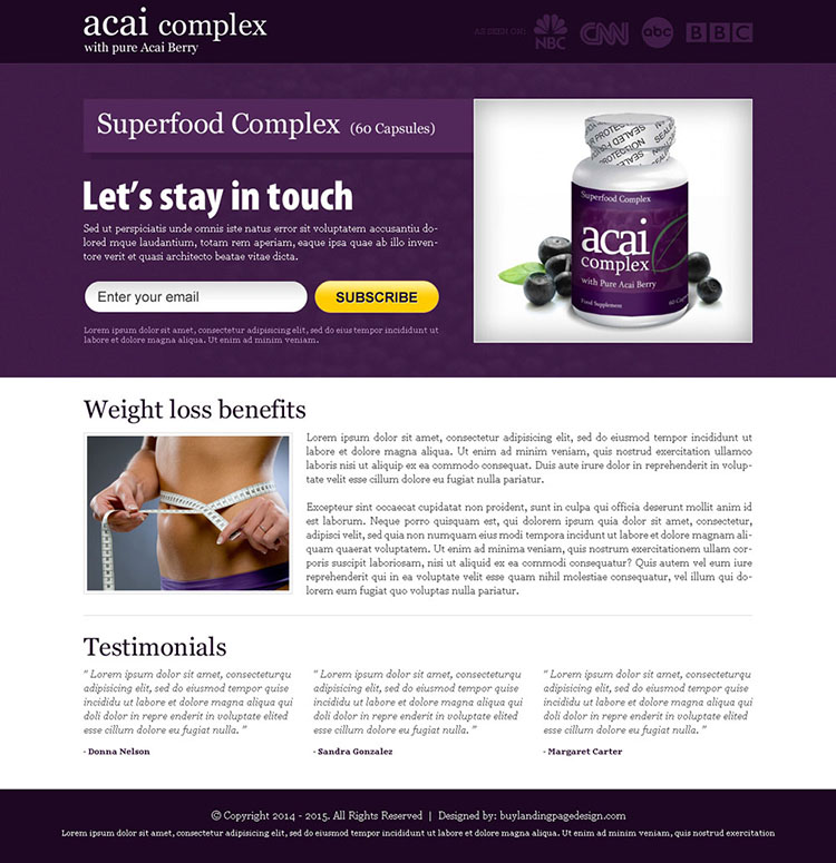 acai berry superfood complex email subscription landing page design