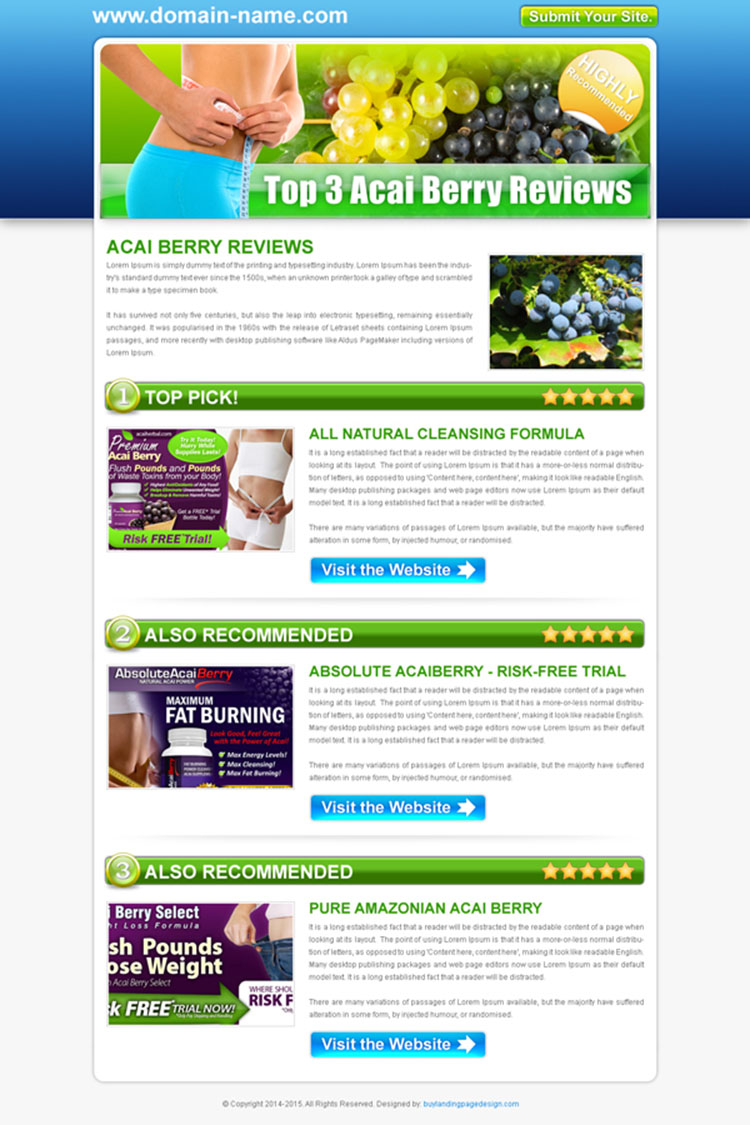 top 3 acai berry review type html converting landing page design template